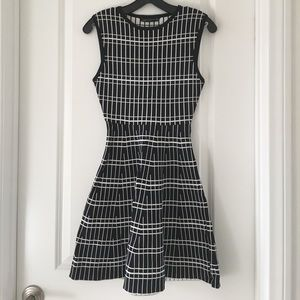 Zara Black White Patterned Fit Flare Mini Dress